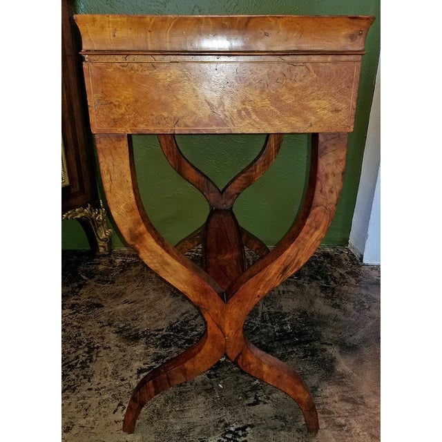 18c French Provincial Burl Walnut Lyre Work Table For Sale - Image 9 of 13