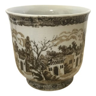 1970s Vintage Brown and White Porcelain Staffordshire English Royal Ironstone Planter Flower Pot For Sale