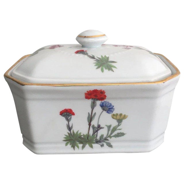 Vintage Louis Lourioux French Porcelain Covered Box For Sale