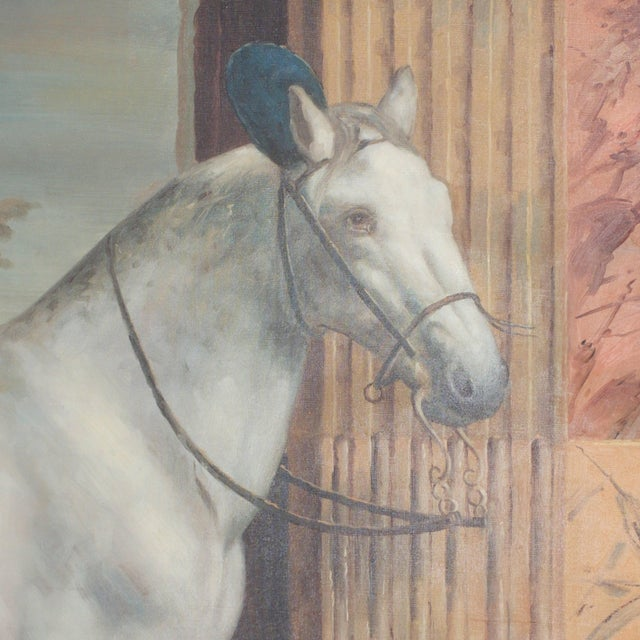 Mid Century Oil Painting on Canvas of a White Horse For Sale In West Palm - Image 6 of 7