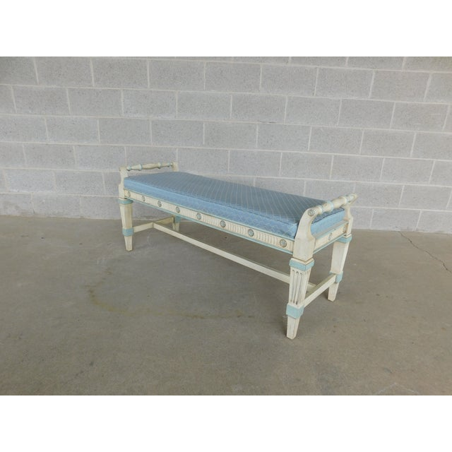 Paint Hickory White Regency Style Paint Decorated Window Accent Bench For Sale - Image 7 of 9