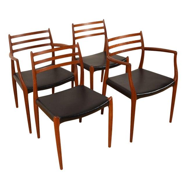 Møller Danish Modern Teak Dining Chairs- Set of 4 For Sale