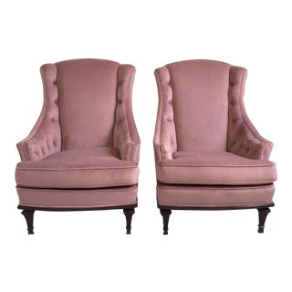 Restored Mid-Century Tufted Velvet Wing Chairs - A Pair