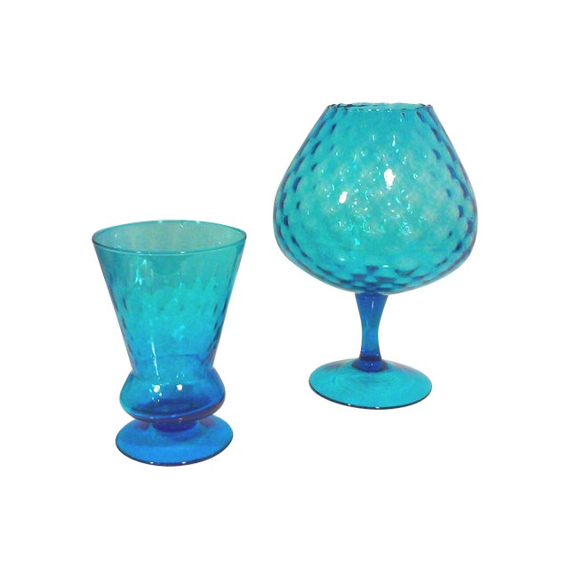 Italian Azure Blue Footed Vases - Pair - Image 1 of 8