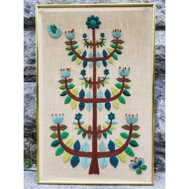 Folk Art Mid-Century Modern Crewel Embroidered Wall Hanging For Sale - Image 3 of 11