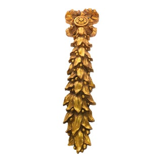 Wood Gilt Gold Ribbon Bow Wall Hanging For Sale
