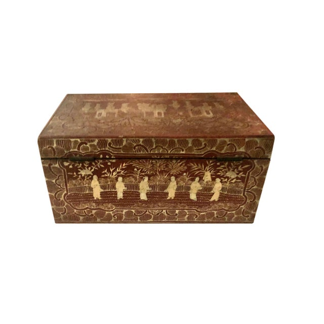 19th Century Red and Gold Chinese Export Box For Sale - Image 4 of 8