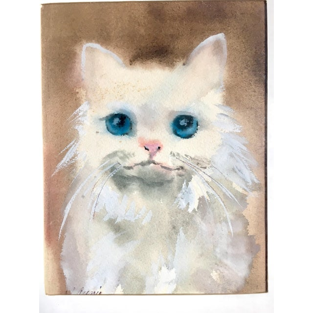Sweet blue eyed pink nosed white fluffy kitty watercolor. Signed matted and framed. All original.