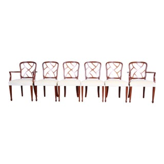 Kindel Furniture Carved Mahogany Formal Dining Chairs - Set of 6 For Sale