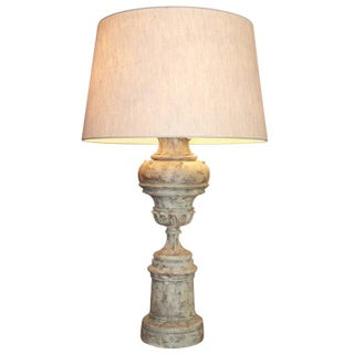 Carved Greiged Balluster Table Lamp For Sale