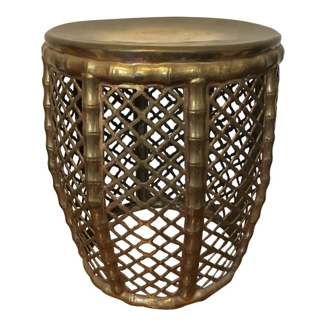 Brass Faux Bamboo Garden Stool For Sale