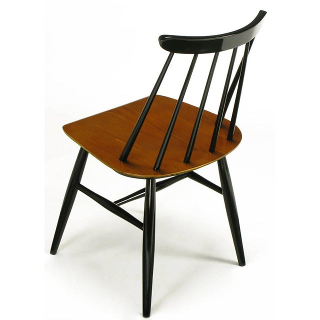 Six Ilmari Tapiovaara Teak and Black Lacquer Dining Chairs For Sale In Chicago - Image 6 of 9