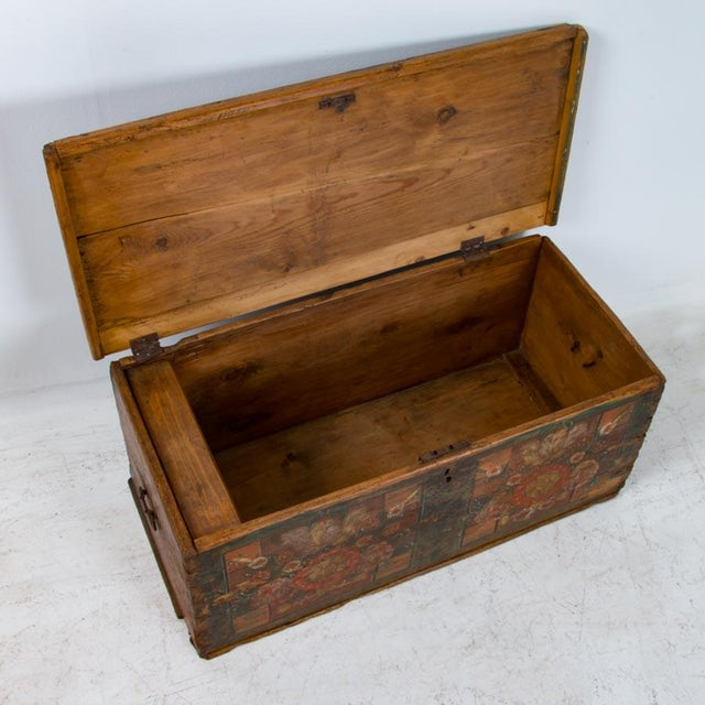 Folk Art 19th Century Antique Painted Trunk For Sale - Image 3 of 10