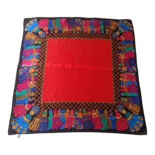 Echo Tassel Red Silk Scarf For Sale