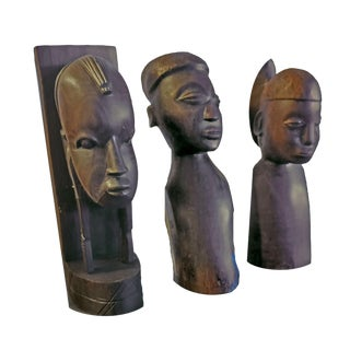 Vintage Besmo African Tribal Ebony Busts of Two Women and a Man - Set of 3 For Sale