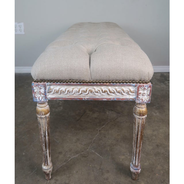 French Louis XVI Style Painted Bench C. 1930 For Sale - Image 10 of 13