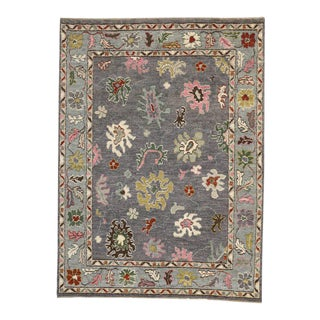 Modern Oushak Style Rug with Bright Colors, Contemporary Grey Oushak Rug