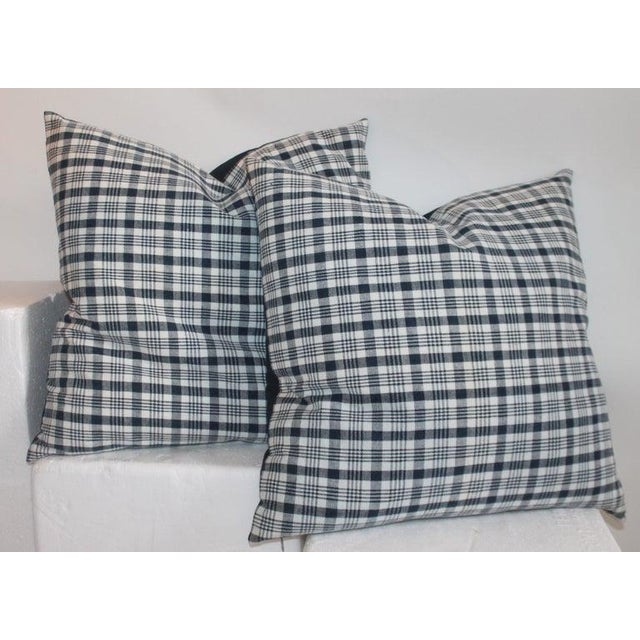 Pair of large pillows measure 22 x 22 19th century linen homespun indigo and white linen pillows. The backings are white...