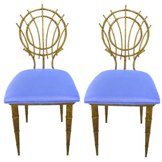 1960s Petite Gilt Bamboo-Style Chairs - A Pair For Sale