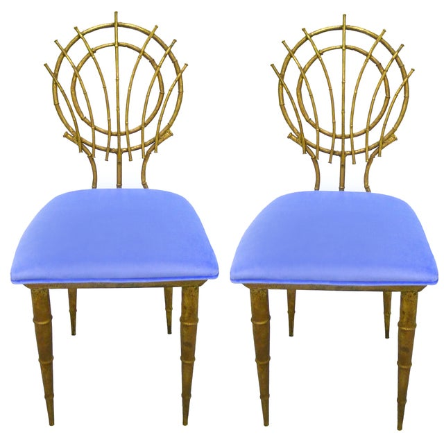1960s Petite Gilt Bamboo-Style Chairs - A Pair - Image 1 of 7