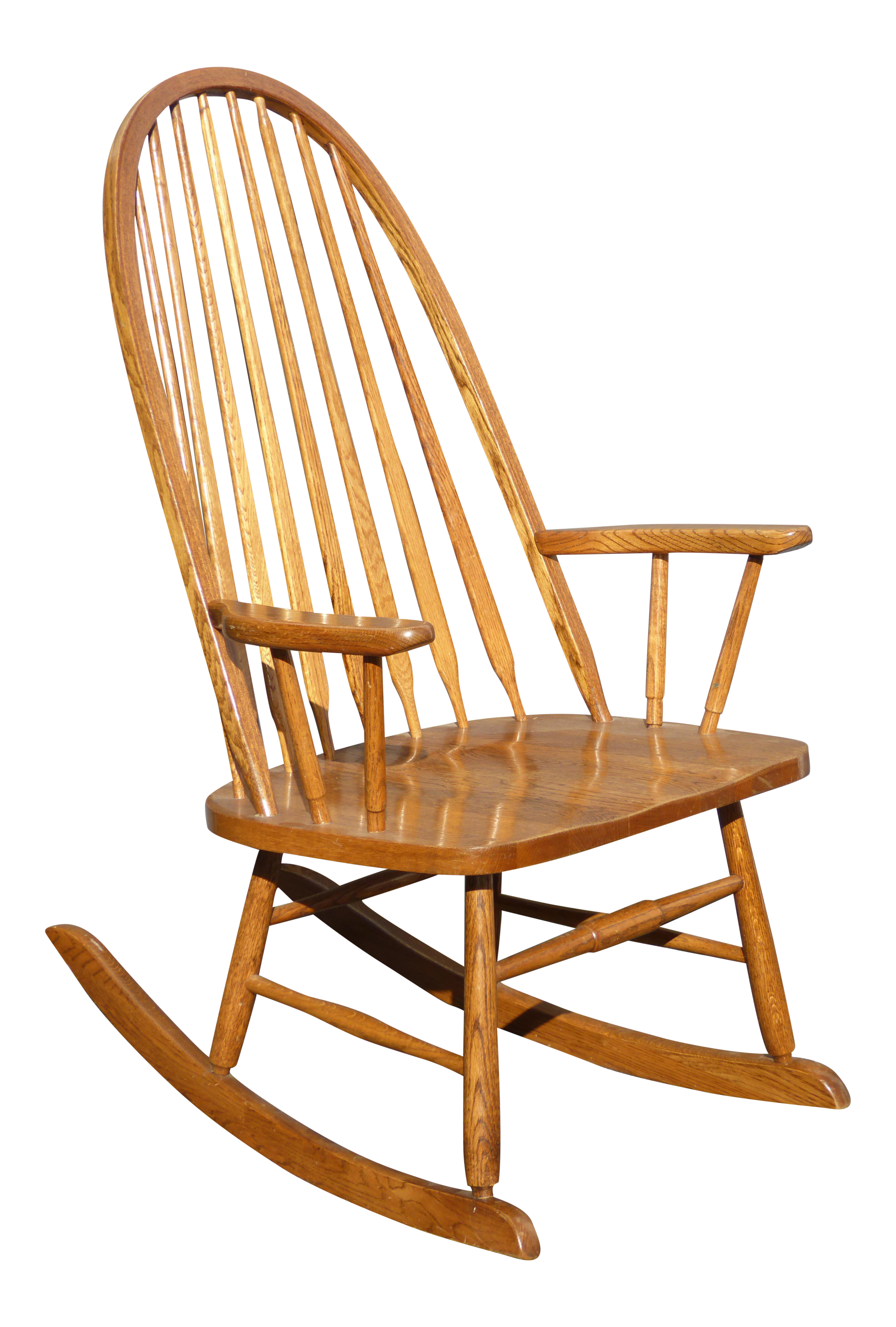 Vintage Royola Pacific Mid Century French Country Oak Windsor Rocking Chair    Image 1 Of