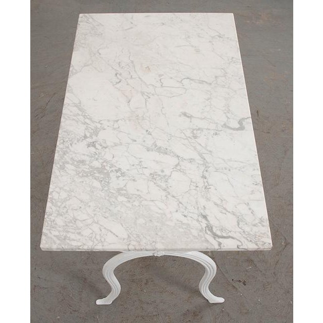 Boho Chic French 19th Century White Marble-Top Bistro Table For Sale - Image 3 of 13