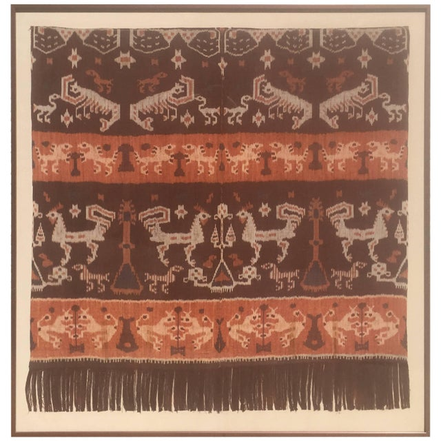 19th Century Framed Indonesian Ikat Art From Steve Chase Palm Springs Estate For Sale In Palm Springs - Image 6 of 6