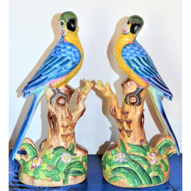 Feather Vintage Chinese Blue Majolica Parrot Figurines - a Pair For Sale - Image 7 of 15
