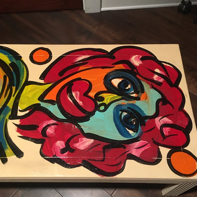 1970s 1970s Peter Keil Hand Painted Abstract Coffee Table For Sale - Image 5 of 13