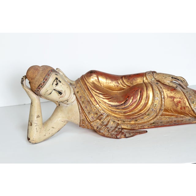 Reclining Buddha / Draped in Golden Robes With a Jeweled Border and Headress For Sale - Image 12 of 13