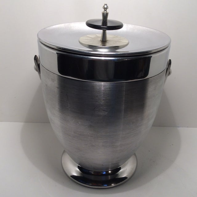 Kromex Brushed Stainless Steel & Chrome Ice Bucket For Sale - Image 4 of 11