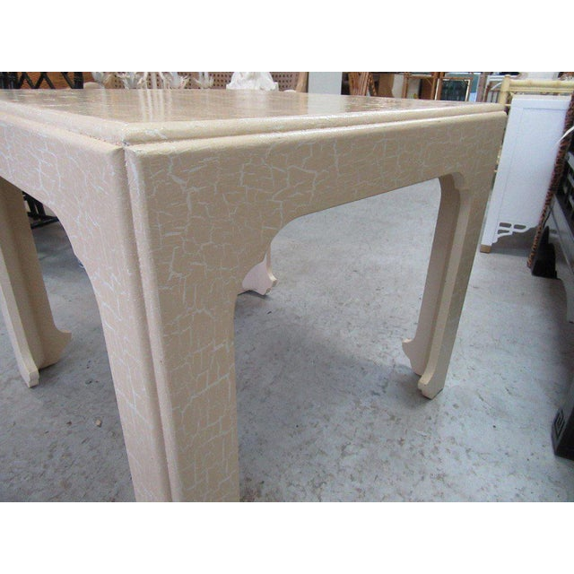 Baker Flirty White Crackle Finish Side Table - Image 4 of 7
