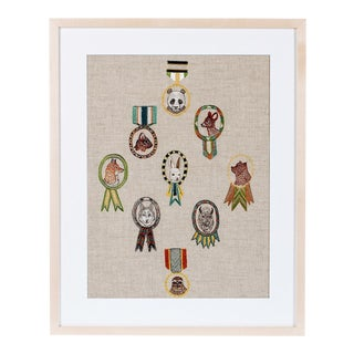 Merit Badges Framed Textile Art