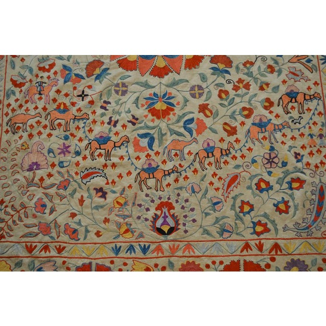 Vintage Turkish Uzbeki Silk on Silk Suzani Ivory Floral Textile- 5'x6'2″ For Sale - Image 4 of 6