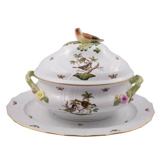 Late 20th Century Vintage Herend Rothschild Large Covered Tureen For Sale