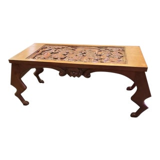 Vintage African Carved Sculptural Coffee Table With Lion Feet Legs For Sale