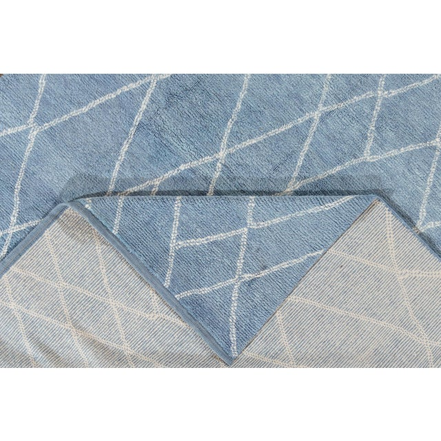 """Moroccan Blue Moroccan Rug, 9'4"""" X 11'9"""" For Sale - Image 3 of 8"""