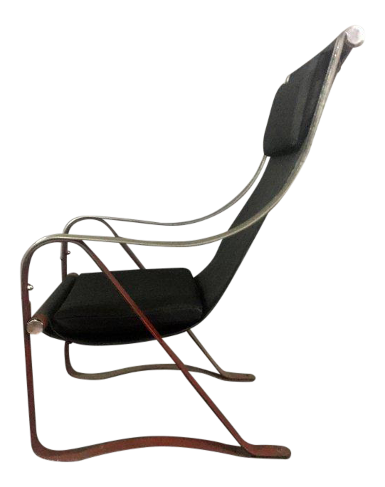 1930s McKay Craft Leather And Steel Sling Chair For Sale