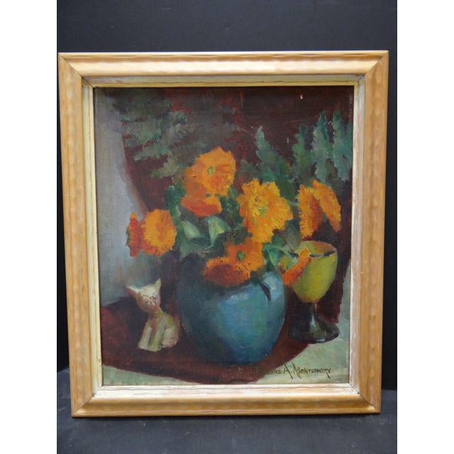 """Chrysanthemums"" Still Life Painting by Eugene A Montgomery For Sale - Image 10 of 10"