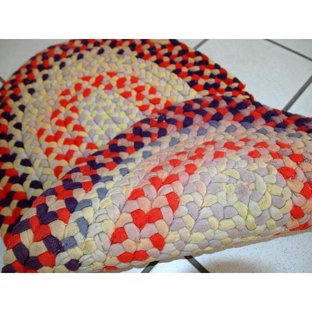 """Textile 1930s Handmade Antique American Braided Rug - 1'3"""" x 2'4"""" For Sale - Image 7 of 10"""