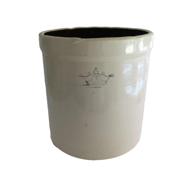 Antique 3 Gallon Stoneware Pottery White and Blue Crown Crock For Sale In Houston - Image 6 of 6