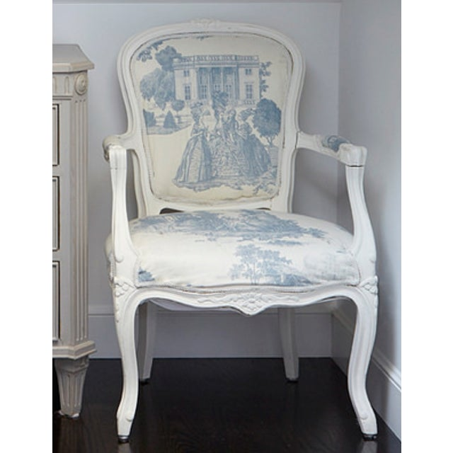 Magnificent French Louis Blue Cream Toile Xv Style Arm Chair Machost Co Dining Chair Design Ideas Machostcouk