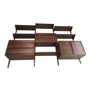 1960's Mid-Century Modern Danish Style Teak Floating Shelves Modular Wall Unit For Sale