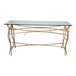 Vintage Handmade Studio Faux Bois Metal Console Table . For Sale