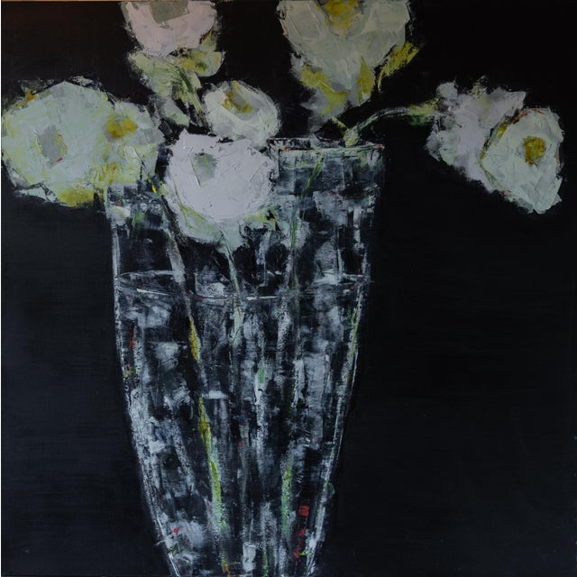 "Bill Tansey ""Clear Vase"" Abstract Floral Oil Painting on Canvas For Sale"