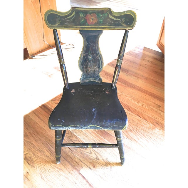 Antique Hand-Painted Early American Side Chair - Image 3 of 3