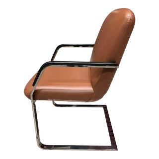 Mid-Century Modern Squared Stainless Flatbar Brno Style Chair Manner of Milo Baughman for Thayer Coggin For Sale