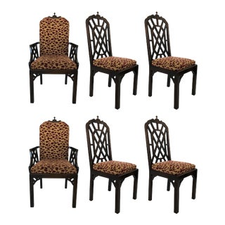 Six Chinese Chippendale Dining Chairs For Sale