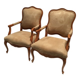 French Style Suede Armchairs - A Pair For Sale