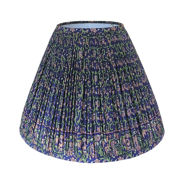 Navy, Peach, and Sage Silk Sari Gathered Lamp Shade For Sale